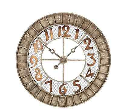 New Large Big 36 inch Rustic Distressed Stylre Metal Wall Clock Home Art Decor