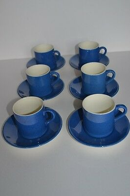 Moorcroft Pottery Set of 6 rare Coffee Cans and Saucers - Powder Blue
