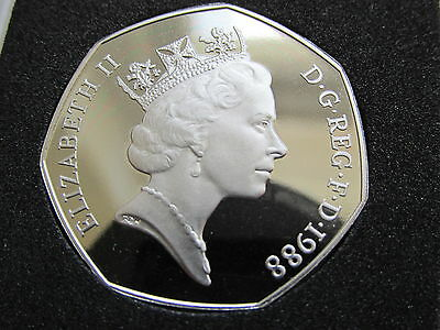 1988 RARE UNRELEASED PROOF UK 50p Coin Brittania. MINT/CASED.