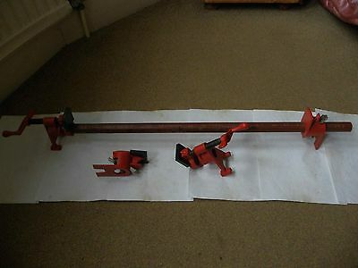 """Two Pairs Of Bessey Bpc-H34 3/4"""" H Series Pipe Clamps (2 Sets)"""