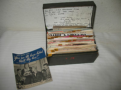 Handwritten Recipes Card File Box 1940s 1950s Metal Vintage Home Cooking Packed