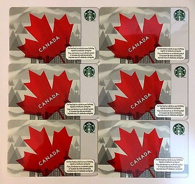 Lot of 6 STARBUCKS CARD CANADA DAY 2013 MAPLE LEAF NEW