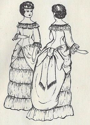"22""antique French Fashion Doll@1882 Bustle Dress/ball Gown Variations Pattern"