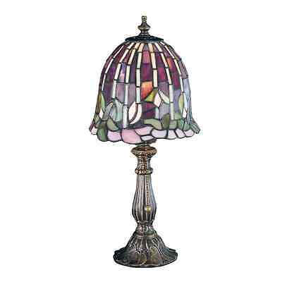 16in Mahogany Bronze Tiffany-Style Indoor Table Lamp with Glass Shade Home Decor