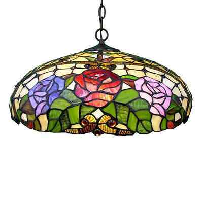 18-in Tiffany-Style Single Stained Glass Dome Pendant Ceiling Hanging Lights