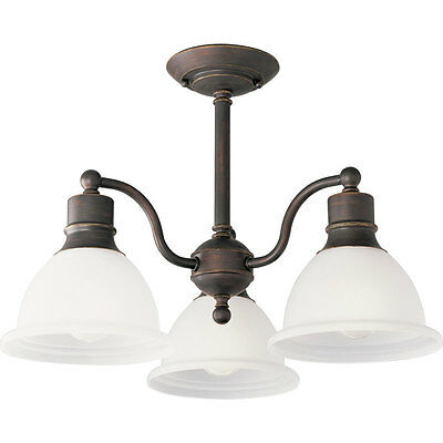 Semi Flush Mount Light Madison 20.75 in. W Antique Bronze Frosted Glass Lamps
