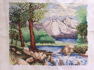 Completed Cross Stitch Mountain River Scene Tranquil Stitched Sewing BritishWork
