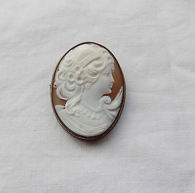Beautiful Large Silver Carved Shell Cameo Brooch Pendant English Hallmarks