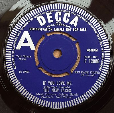 The New Faces - If You Love Me - UK Decca Demo - 1968