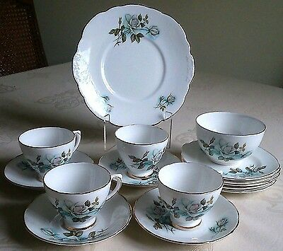 Delphine Elizabethan Exc Bone China White Rose Tea Set 4 Trios Cake Sugar Jug
