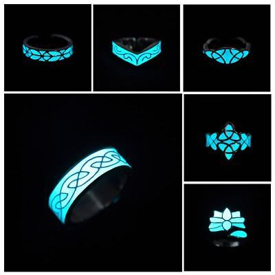 Glow In Dark Ring Adjustable Luminous Fluorescent Glowing vintage retro