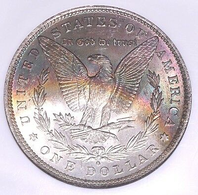 1884 O BU Morgan Silver Dollar Rainbow Crescent Reverse Slabbed NGC MS63