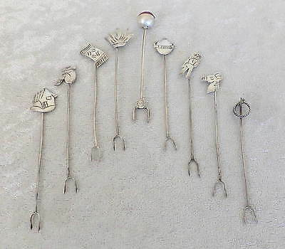 Vtg Taxco Mexico 9 sterling silver cocktail forks lot garnish spear horse cactus