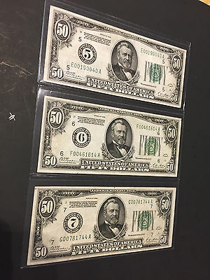 1928 3X$50 Federal Reserve Note ( On Gold Demand With Numerical Dist 5, 6, &7 )