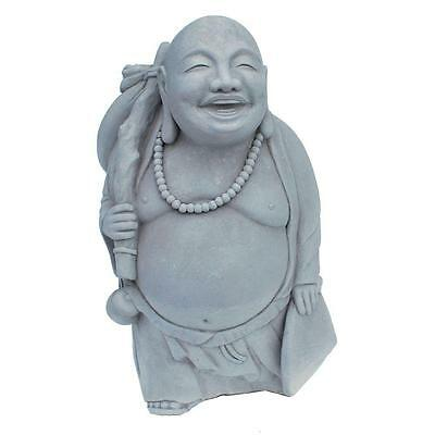 Garden Statue Traveling Buddha Cement Cast Stone Antique Gray Patio Sculpture