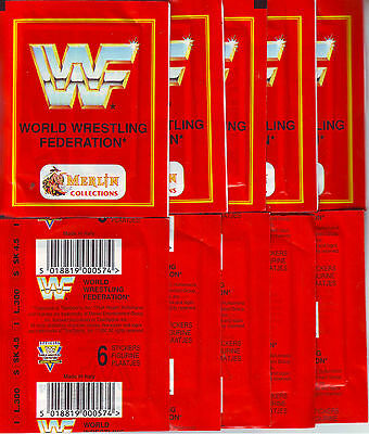 10 Unopened Sticker Packs Wwf World Wrestling Federation Merlin - John Cena