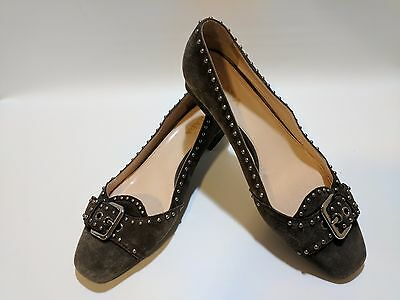 1102e4ab3ce PRADA MADE IN ITALY WOMEN S SUEDE BROWN Studded PUMPS HEELS Shoes SZ 9 EURO  39.5
