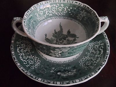 Vintage Spode Green Camilla Soup Dish and Plate
