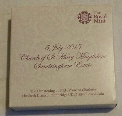 Princess Charlotte £5 five pounds Silver Proof Coin Christening Cased + COA Rare