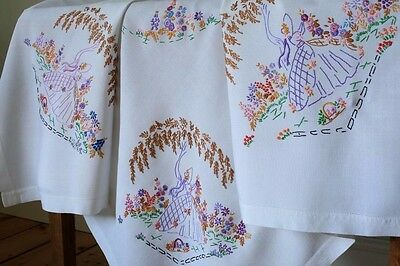 Vintage White Hand Embroidered Tablecloth Crinoline Ladies Flowers Willow Tree