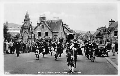 The Pipe Band Main Street Pitlochry Vintage Car