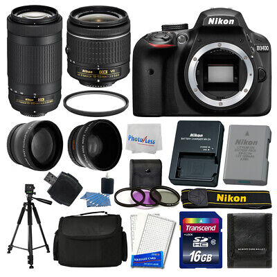 Nikon D3400 Digital SLR Camera + 16GB Top Value Bundle + 18-55mm VR + 70-300mm