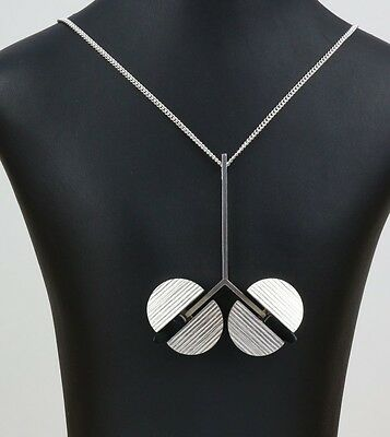 Danish silver pendant designed and made by Uve Moltke set with 2 Black Onyx