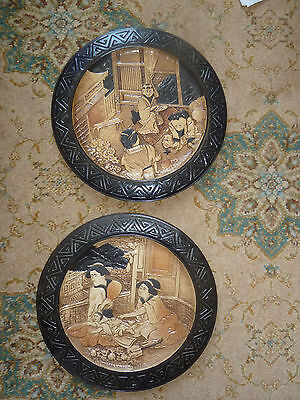 English Pottery Bretby Large Oriental Wall Plaques Plates Pair