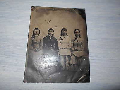 Tintype Native Americans & White Friends
