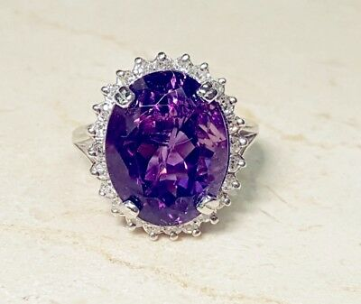 Huge 14k White Gold 11 ct Gorgeous Oval Amethyst and diamond Halo Ring Sz 6.5