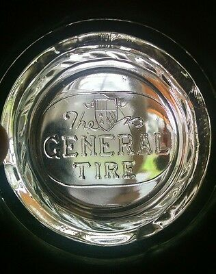 Vintage General Power-Jet Tire Ashtray With Embossed Glass Insert *very Nice*
