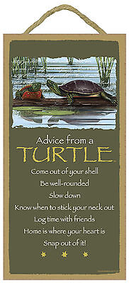 Advice from a Turtle Inspirational Wood Nature Sign Plaque Made in USA