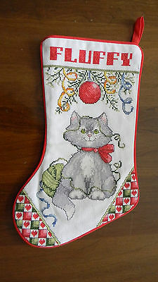 Handmade & Lined Cross Stitch Christmas Stocking FLUFFY Cat Kitten JCA NEW