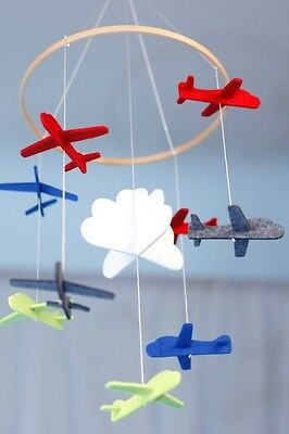 Baby Airplane mobile for boys. Crib & nursery, blue, red, yellow, cloud