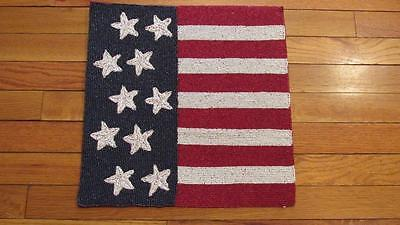 4th of July Memorial Day FLAG Beaded Placemat Red/White/Blue w/Stars 15x15 NEW
