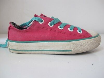 Girls Converse Chuck Taylor All Star Pink Textile Low Trainers UK C10 EU 27