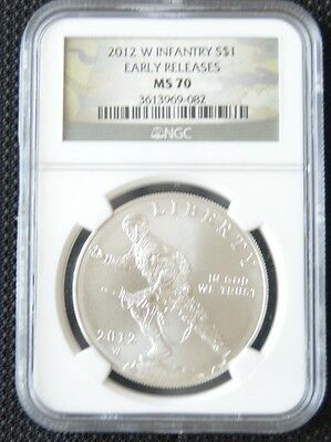 2012 W Infantry MS70 NGC Silver Commemorative Dollar $1 US Mint (Early Release)