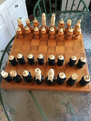 "Vintage Wood & Bovine Bone Carved Chess Set with Wood Folding Box 5 1/4"" King"