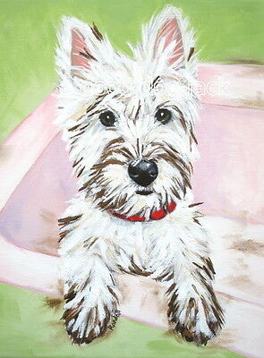 """West Highland Terrier ACEO WESTIE PRINT Painting """"DIRTY FACE"""" Dog RANDALL"""