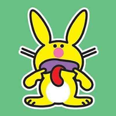 IT'S HAPPY BUNNY 1.5-in BADGE Button Pin Funny Face NEW OFFICIAL MERCHANDISE