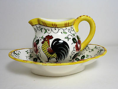 Vintage Ucagco Japan Early Provincial Roosters & Roses Mini Pitcher & Bowl Set