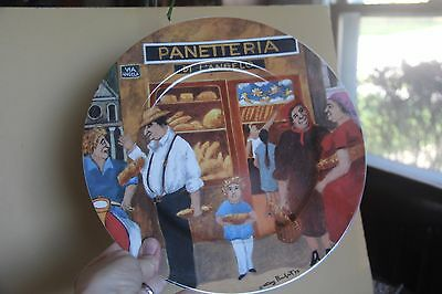 """Guy Buffet Tuscan Storefronts Plate Dinner Large 11"""" Italian Italy Panetteria"""