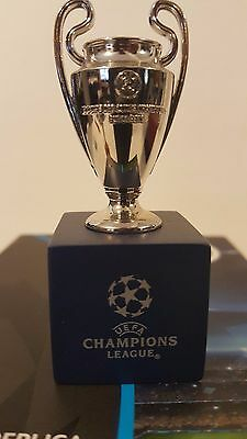 "UEFA Champions League Trophy Replica Metal Miniature 3"" with wood base"