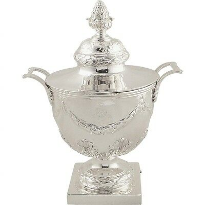 """ANTIQUE SOLID STERLILNG SILVER 7 1/2"""" URN with LID - 1911 - ARMORIAL CREST"""
