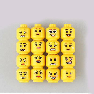 16 X Lego compatible minifigures head different expression - woman yellow