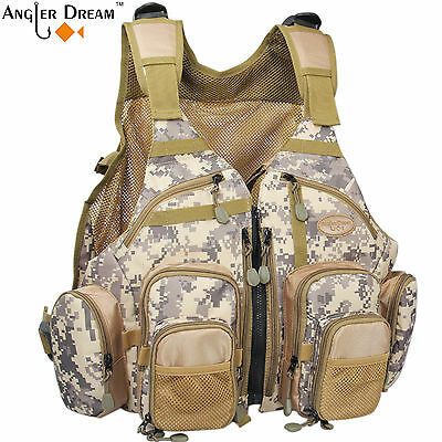 Camo Fly Vest Adjustable Size Outdoor Sports Vest Fly Fishing Tackle Bag