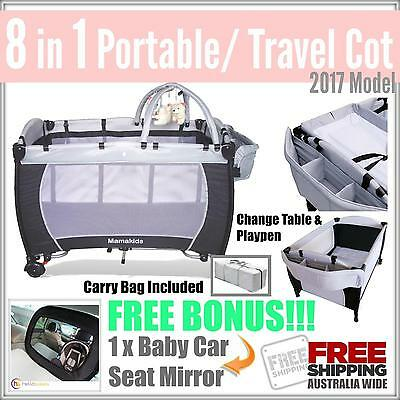 BRAND NEW 8 in 1 Baby Travel Portable Portacot Foldable Playpen Bassinet Bed