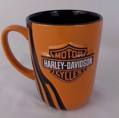 Harley Davidson Black and Orange Coffee Cup Mug Embossed Logo EUC