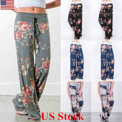 Us New Ladies Summer Wide Leg Loose Trousers Floral Printed Palazzo Womens Pants