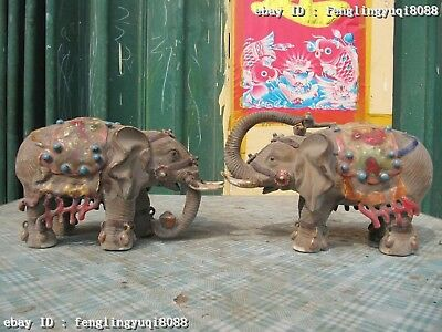 Chinese Folk Wucai porcelain Fengshui Lucky peace Elephant Pair Statue